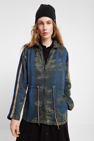 Parka camouflage adjustable waist