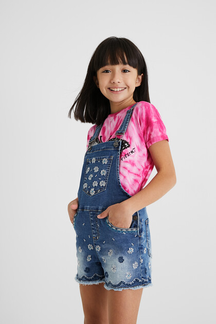 Short embroidered denim overalls