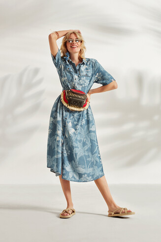 Safari Dress in Tencel™ floral camouflage