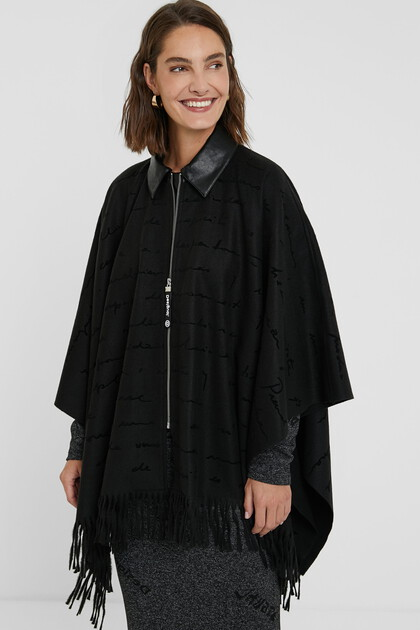 Collar and zipper poncho