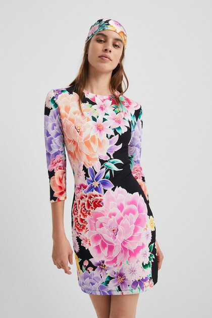 Vestito corto slim a fiori