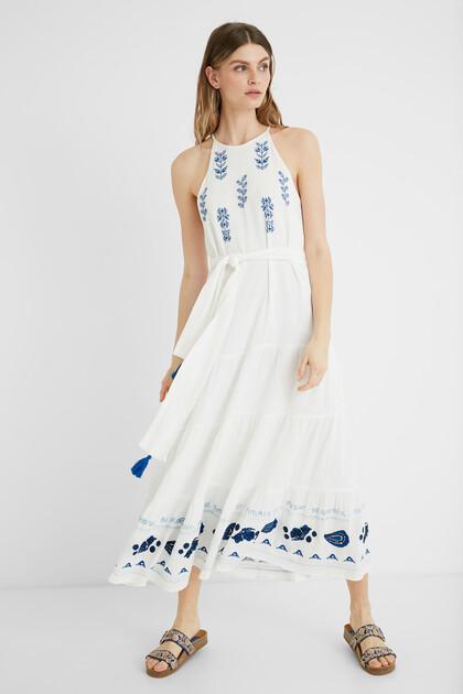 Midi-dress linen halter