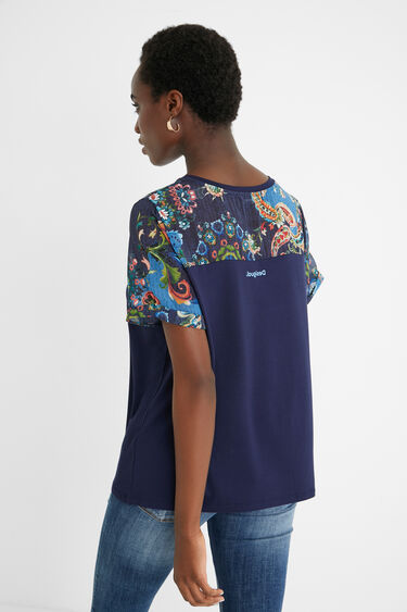 T-shirt bi-matière tulle mandalas | Desigual