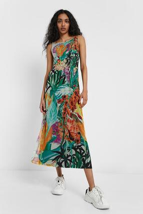 Vestito longuette tropicale