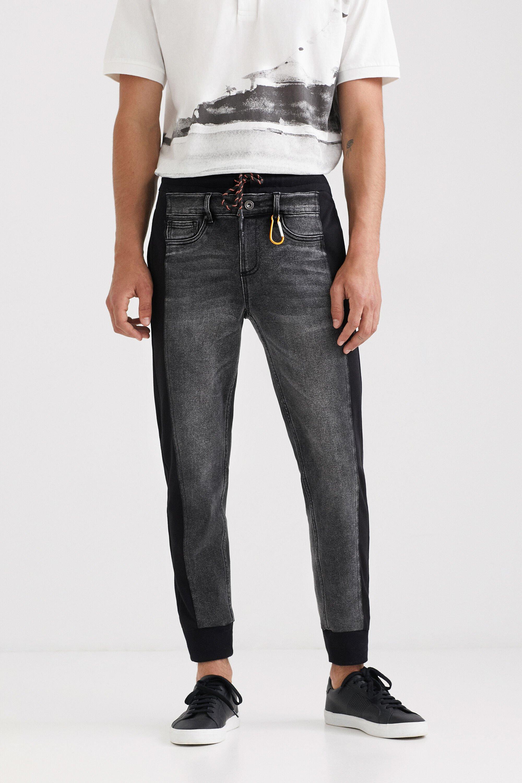 Hybrid denim jogging trousers - BLACK - 36