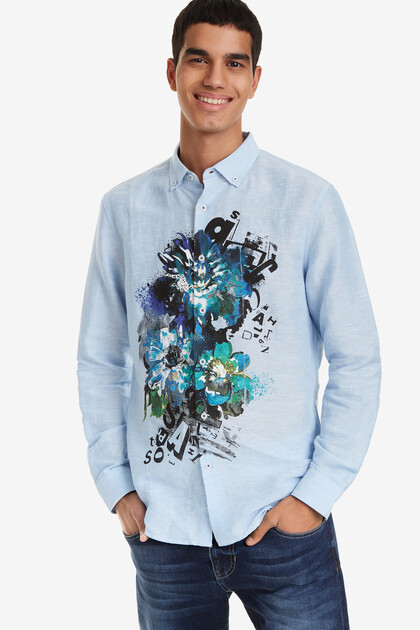 Denim shirt with floral touch Diego