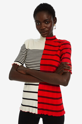 Smal model gestreept T-shirt wederhelft