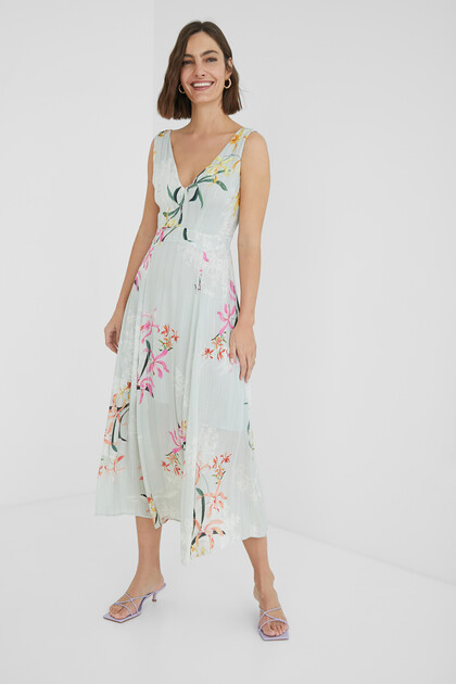 Midi-dress floral and Lurex stripes