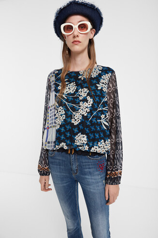 Puffed floral T-shirt