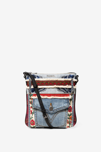 Patches red and denim sling bag