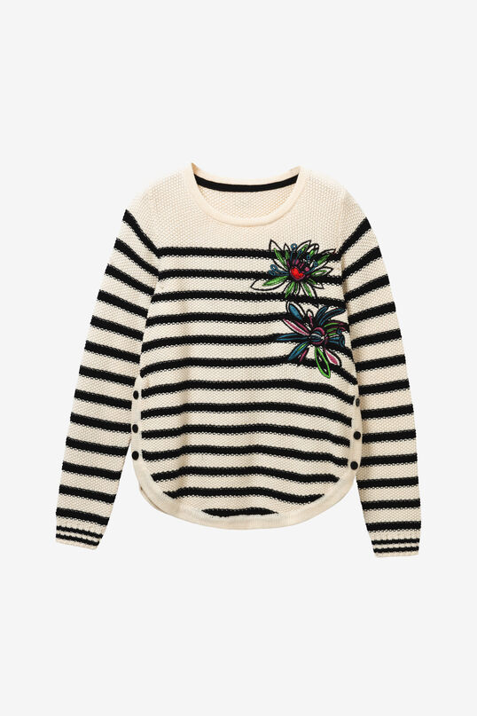 Striped sweater with floral embroidery | Desigual