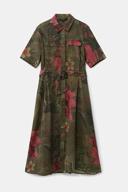 Tropisches, langes Hemdblusenkleid