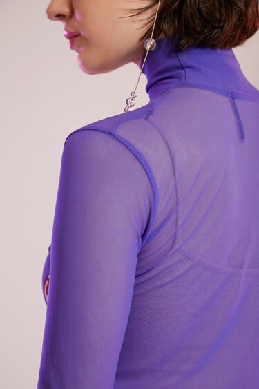 Slim high neck mesh T-shirt | Desigual