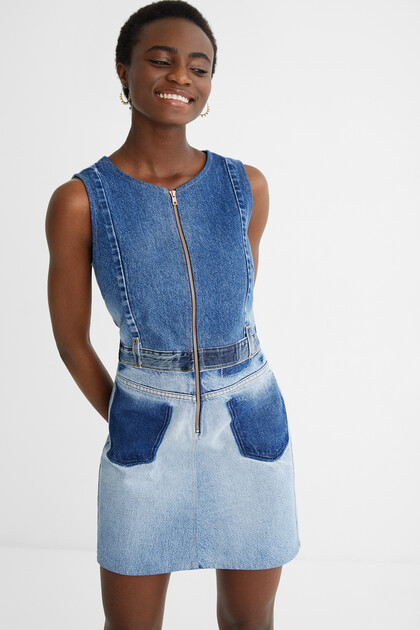 Upcycled denim pinafore