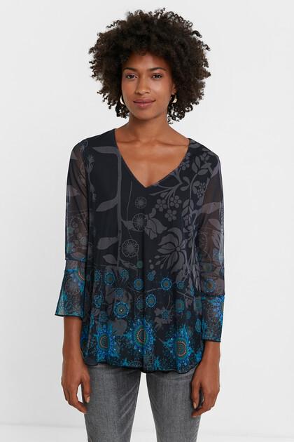 Shirt mit Tüll und Mandalas