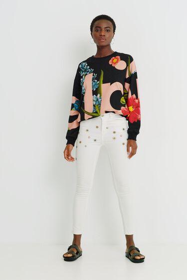 Sweat-shirt coton ouaté fleurs | Desigual