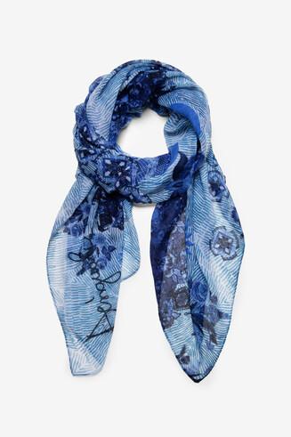 Sjaal blauw en witte mandala's Flirt