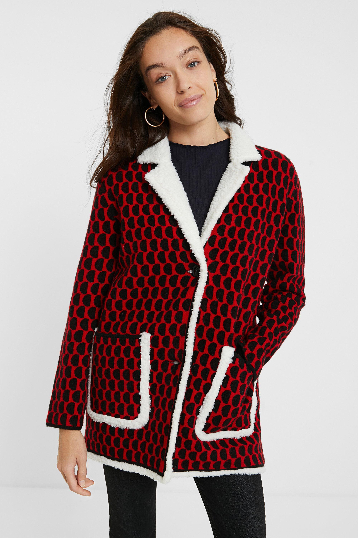 Veste tricot sherpa - RED - L