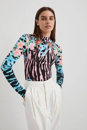 Animal print slim bodysuit