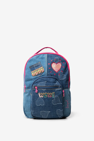 Sequinned denim backpack