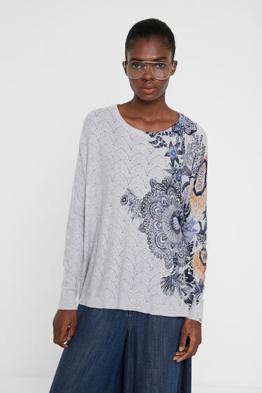 Floral print and rhinestone sweater | Desigual