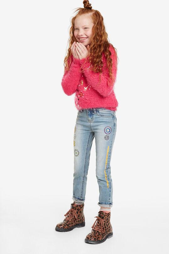 Slim decorated elastic jeans | Desigual