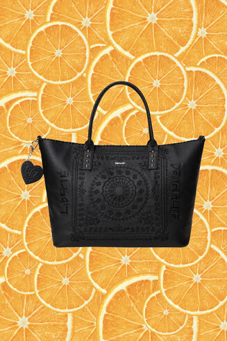 Sac shopping bag cuir synthétique gravé
