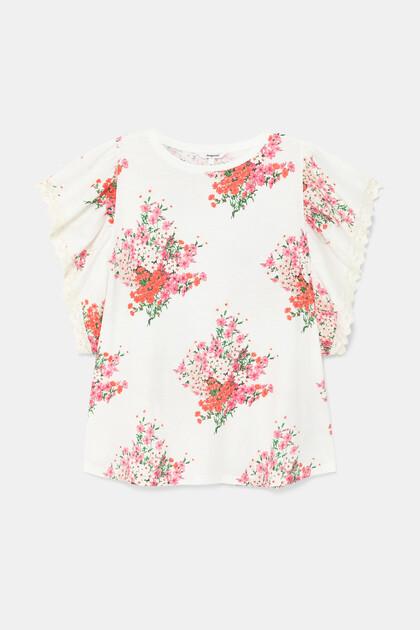 Wijd uitlopend shirt met bloemen
