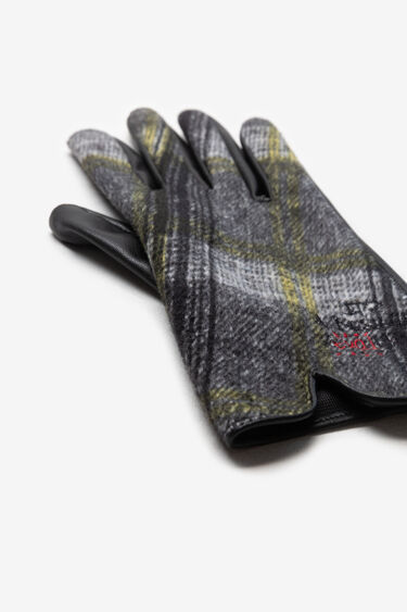 Embroidered tartan gloves | Desigual