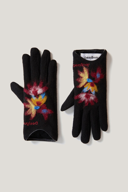 Dzianinowe rękawiczki w kwiaty