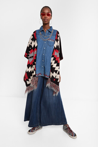 Exotic denim poncho