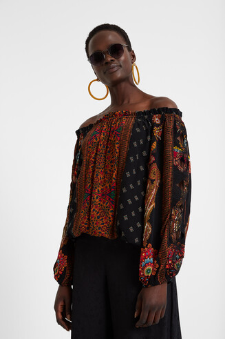 Boat neck boho blouse