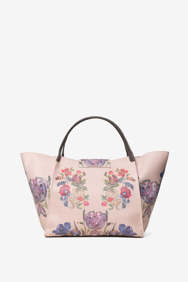 Tote bag with embroidered and painted flowers | Desigual