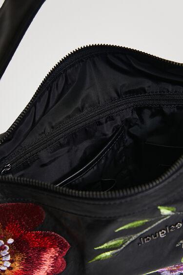 Leather effect embroidered handbag   Desigual