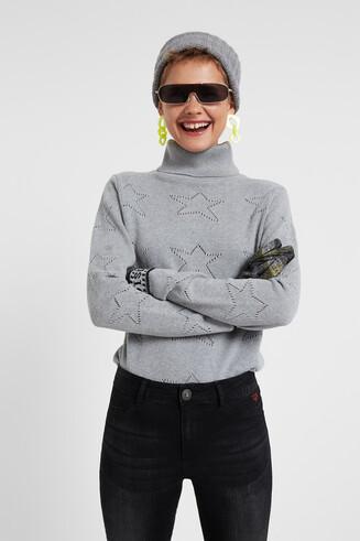 Jersey de algodón estrellas troqueladas