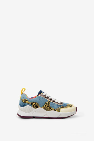 Sneakers Jeans- und Reptilleder-Patch