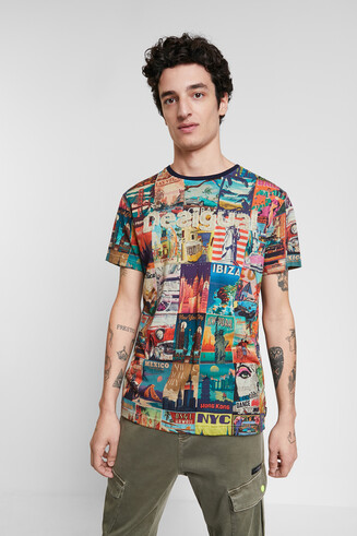 T-shirt ansichtkaarten wereld