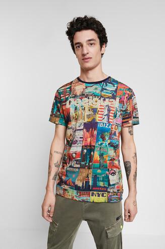 T-shirt cartes postales monde
