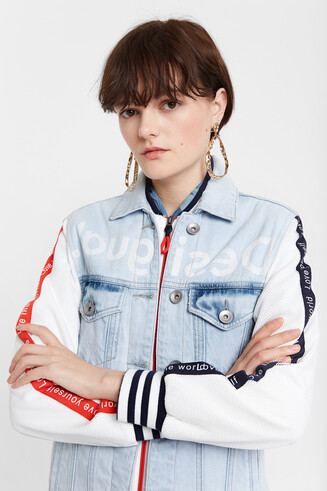 Jean and sporty patch jacket
