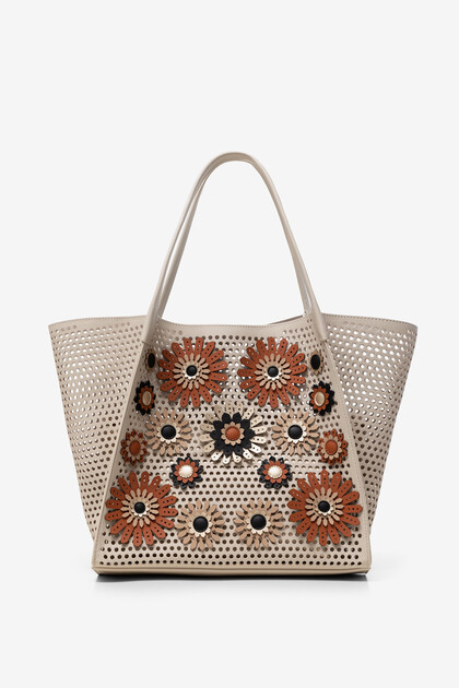 2 in 1 bag embossed with flowers
