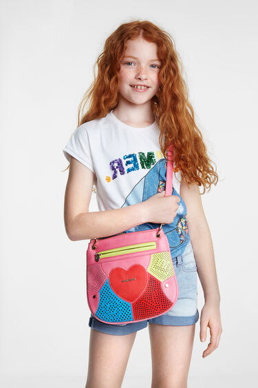 Sling bag heart and multicolour patch | Desigual