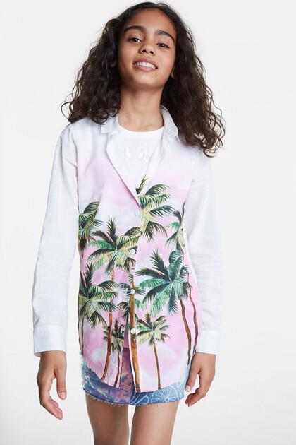 White shirt palm trees