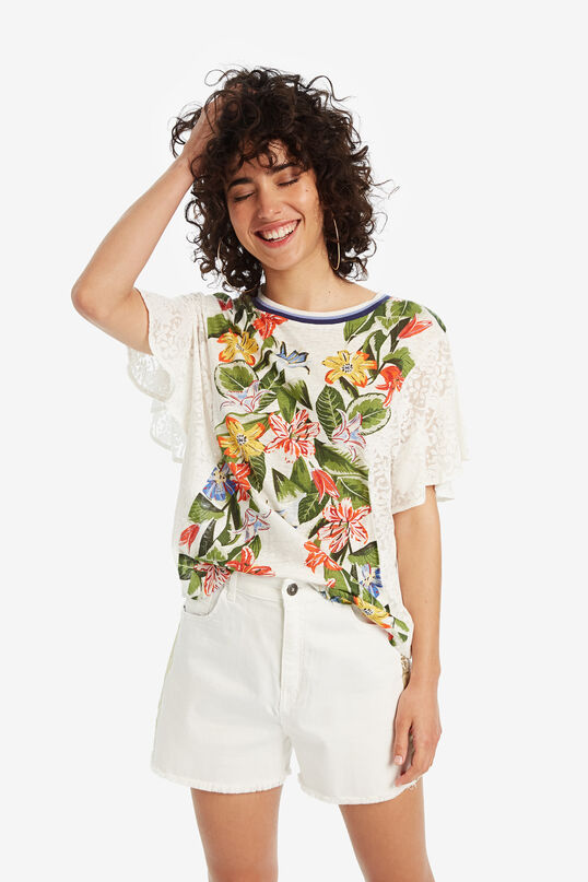 White T-shirt with flowers Silvana   Desigual