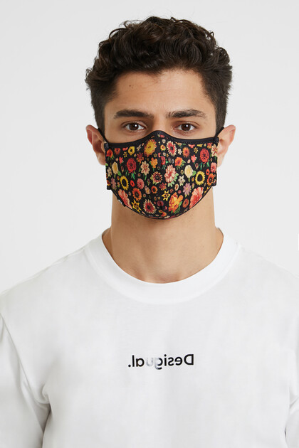 Floral reversible mask + pouch