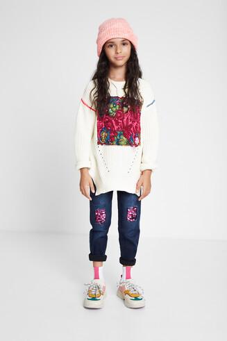 Floral patch knit jumper
