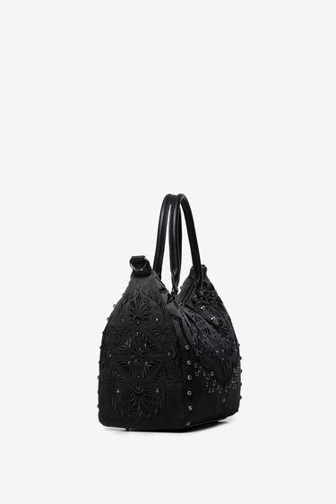 Bag embossed floral motifs and studs   Desigual
