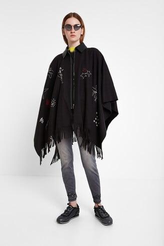 Poncho casaco franjas