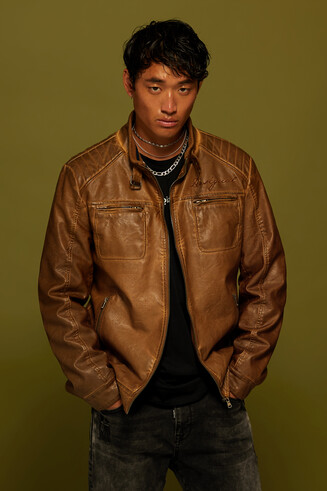 PU leather motard jacket