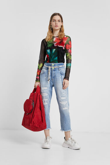 Pantalon en jean boyfriend double ceinture | Desigual