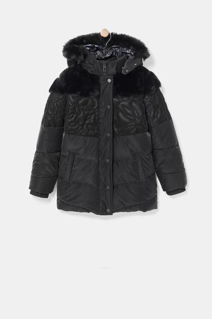 Abrigo largo acolchado capucha